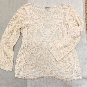 Express Baroque Lace Mesh Top